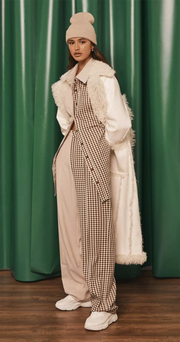 missguided brown contrast gingham masculine pants