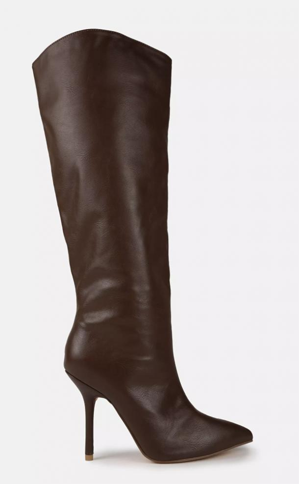 missguided chocolate faux leather pointed toe tubular heeled boots
