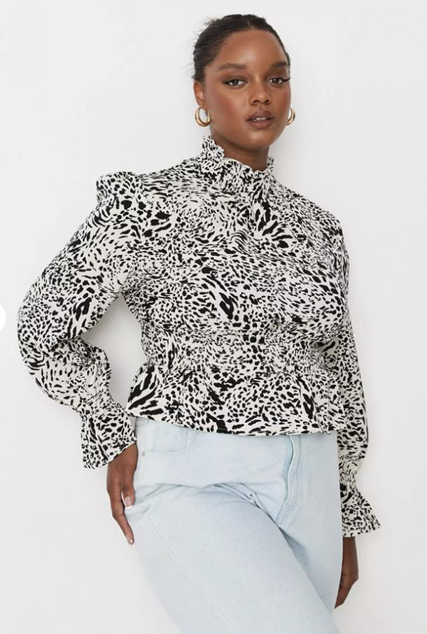 missguided plus size cream animal print frill neck shirred blouse