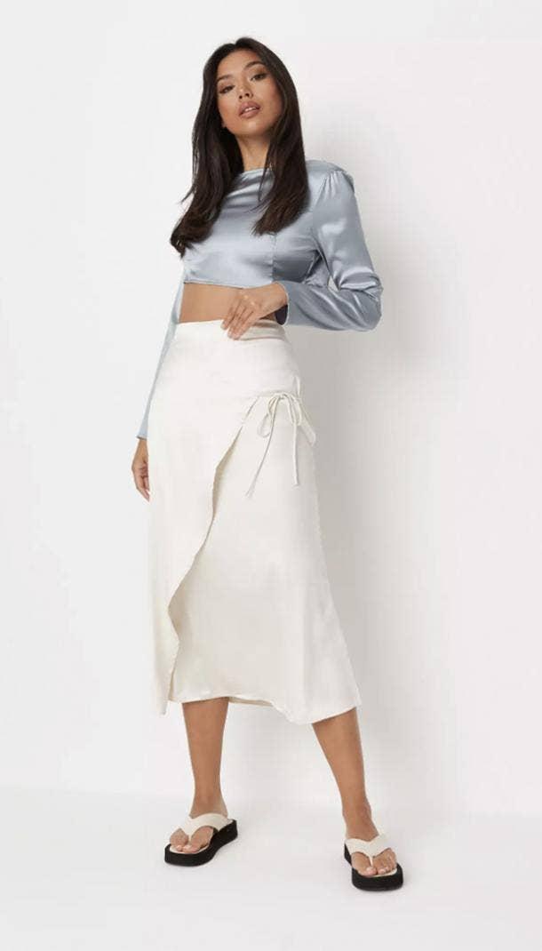 missguided cream satin tie side midi skirt