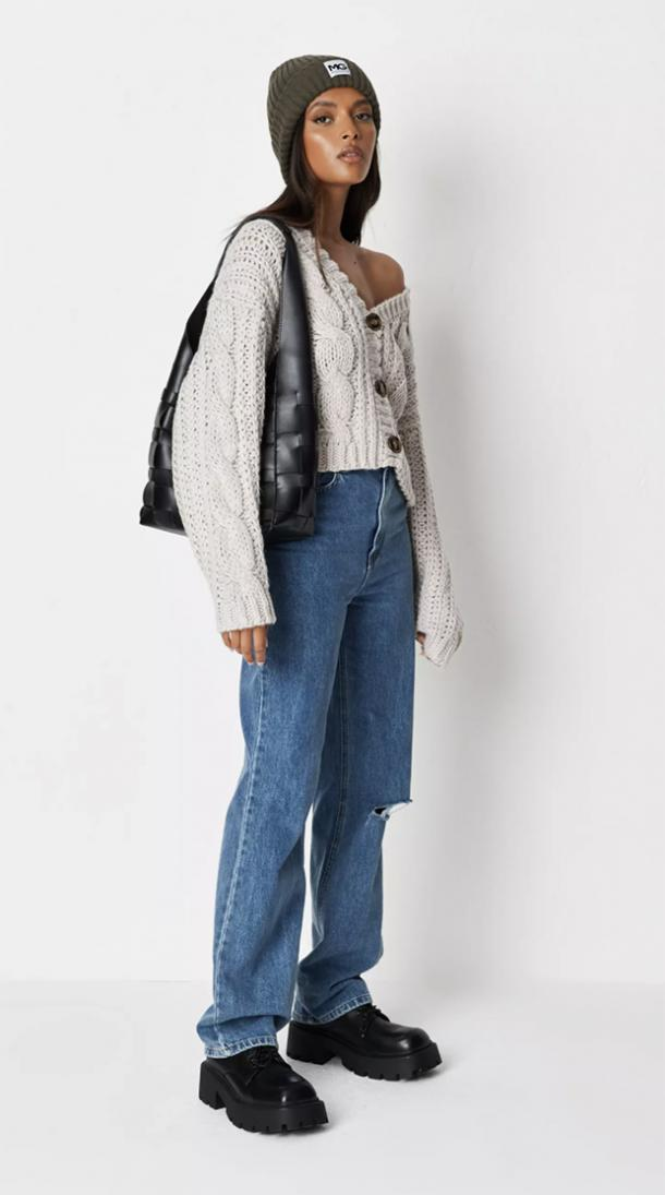 missguided recycled stone cropped hand knit cardigan