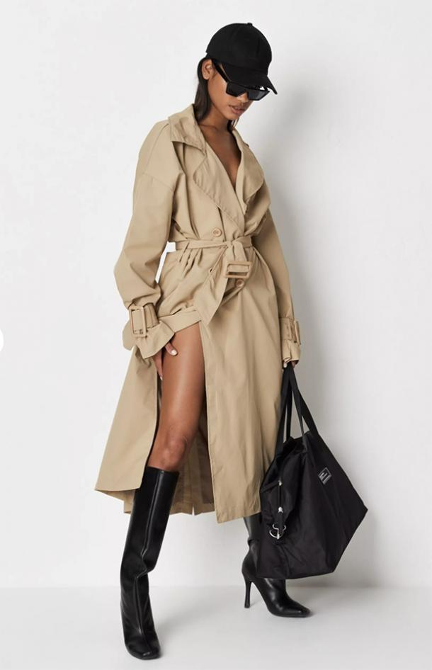 missguided tall sand oversized trench coat