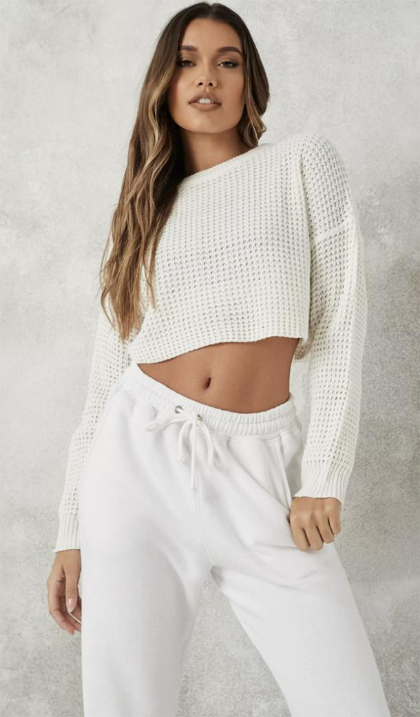 missguided petite white super cropped knitted sweater
