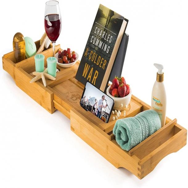 Bamboo Bathtub Tray Caddy mother's day gift for girlfriend