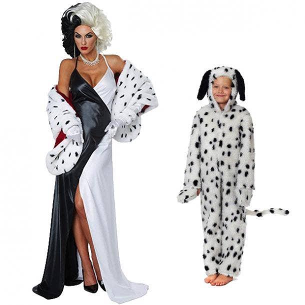 mother daughter halloween costumes cruella de vil dalmatian