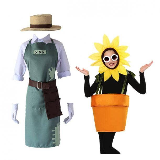 mother daughter halloween costumes gardener flower pot