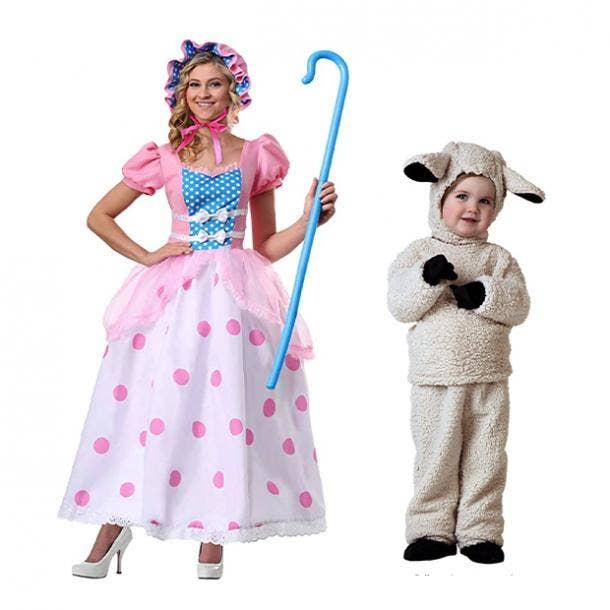 mother daughter halloween costumes little bo peep sheep