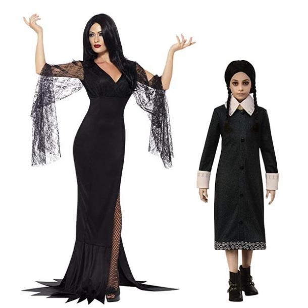 mother daughter halloween costumes morticia wednesday addams