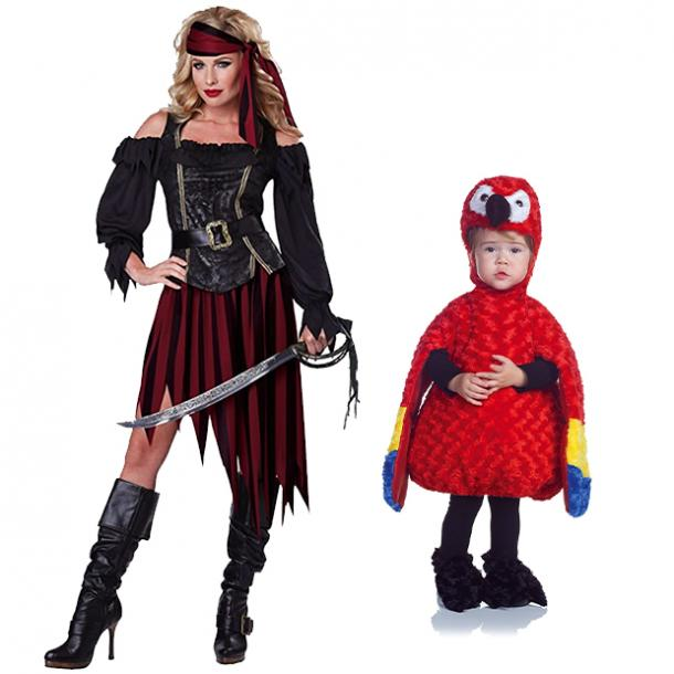 mother daughter halloween costumes pirate and parrot
