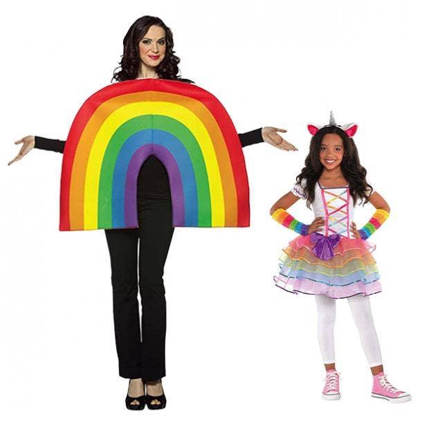 mother daughter halloween costumes rainbow and unicorn