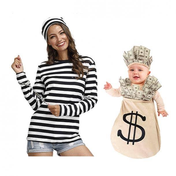 mother daughter halloween costumes robber money bag