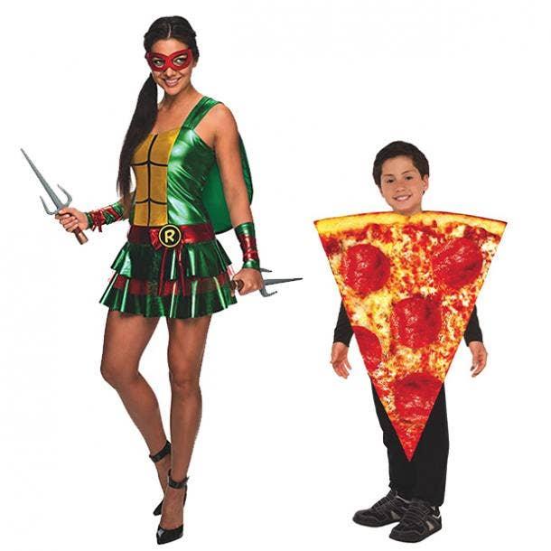 mother daughter halloween costumes teenage mutant ninja turtles pizza slice