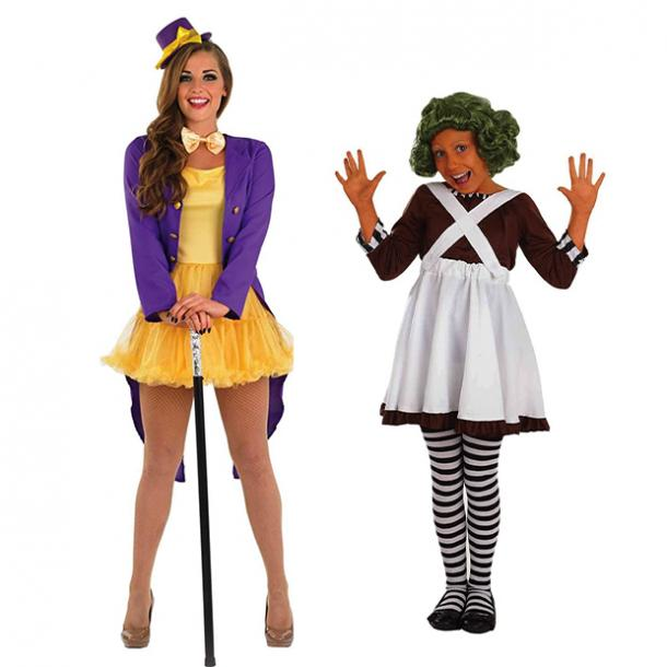 mother daughter halloween costumes willy wonka oompa loompa