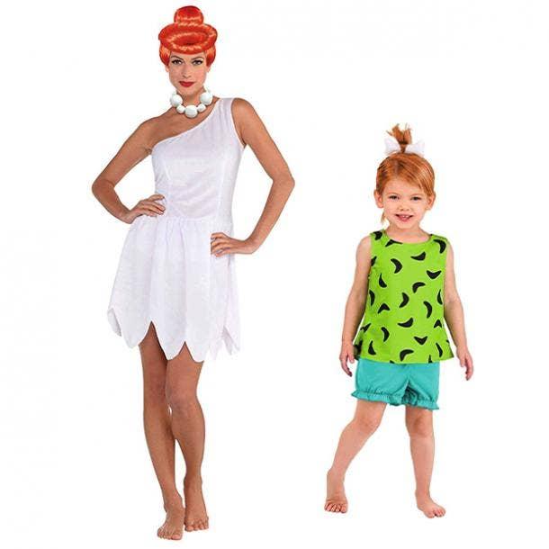 mother daughter halloween costumes wilma pebbles the flintstones