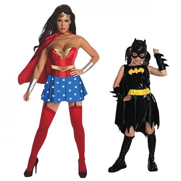 mother daughter halloween costumes wonder woman batgirl