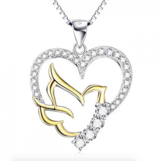 925 Sterling Silver Doves Open Heart Pendant Necklace mothers day gifts for girlfriend