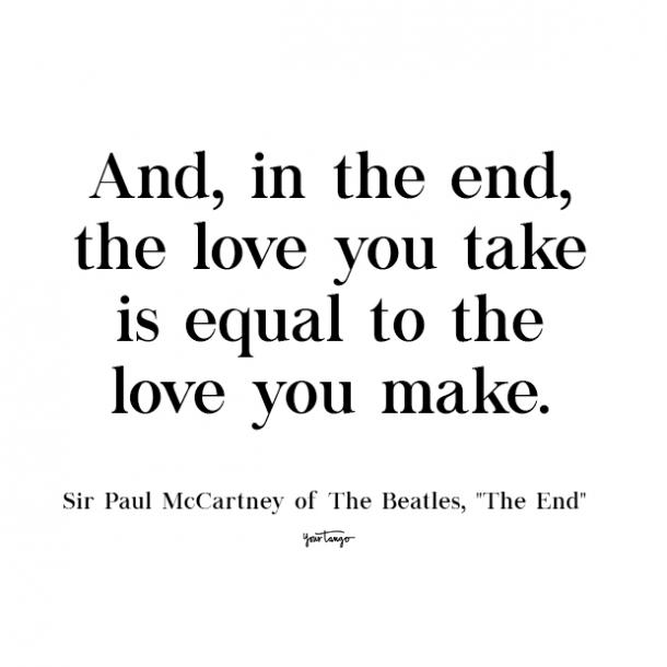 the beatles the end cute love quote