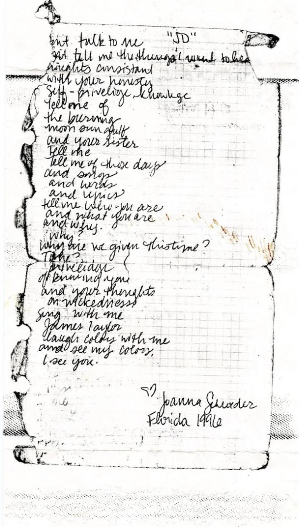 image of a tattered, handwritten poem from 1996