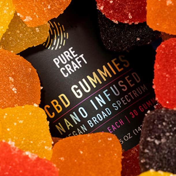 Pure Craft's Nano CBD Infused Broad Spectrum Vegan Gummies