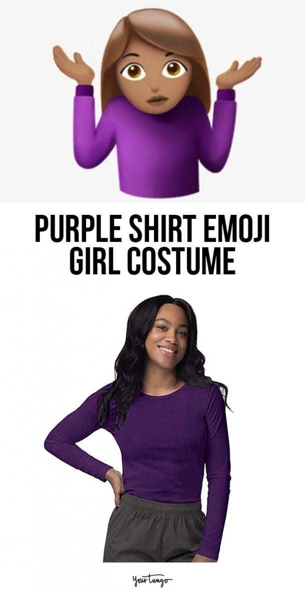purple shirt emoji girl last minute halloween costumes