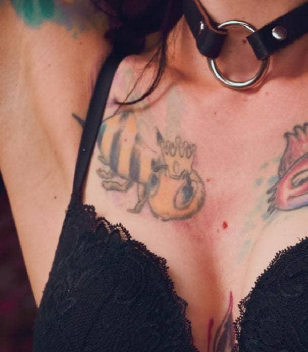 queen bee tattoo idea for women