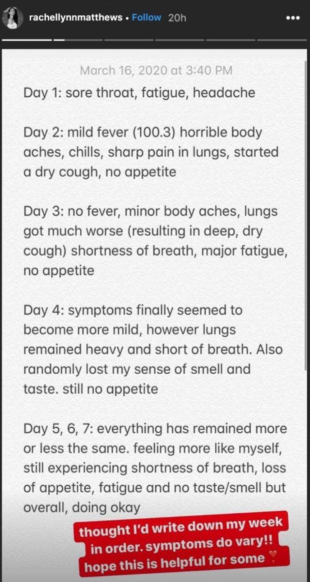 Rachel Matthews timeline of coronavirus symptoms