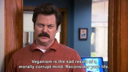 ron swanson vegan quote