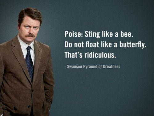 ron swanson sting like a bee quote