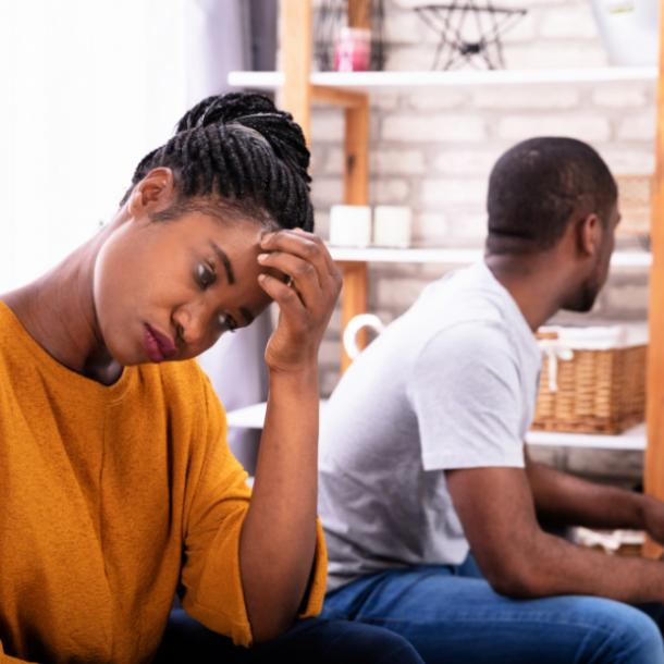 woman upset man doesn't care about the relationship