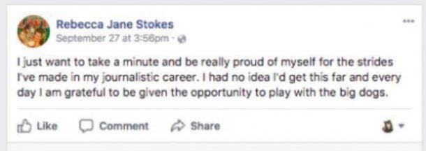 Rebecca Jane Stokes' self-empowering Facebook post
