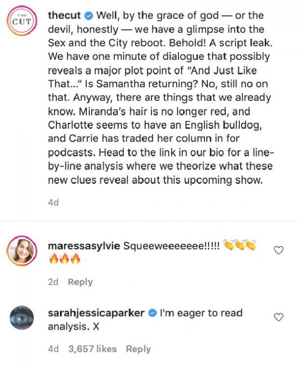 Sex and the City Instagram post