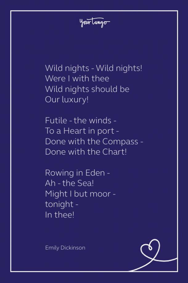 Sexy poem wild nights by emily dickinson