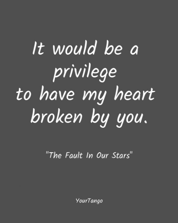 It would be a privilege to have my heart broken by you. The Fault In Our Stars