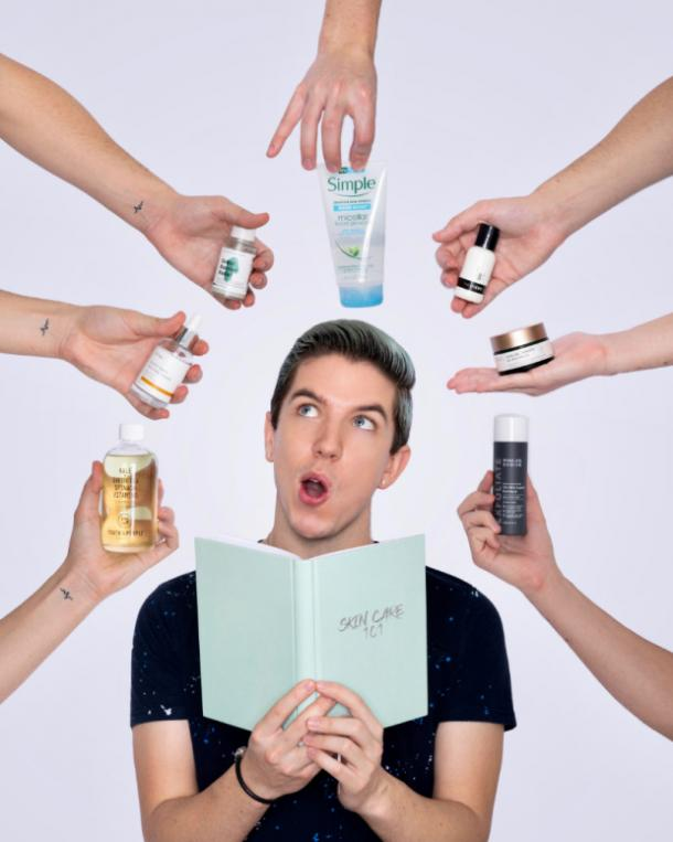 hyram yarbo skin expert surrounded by favorite products