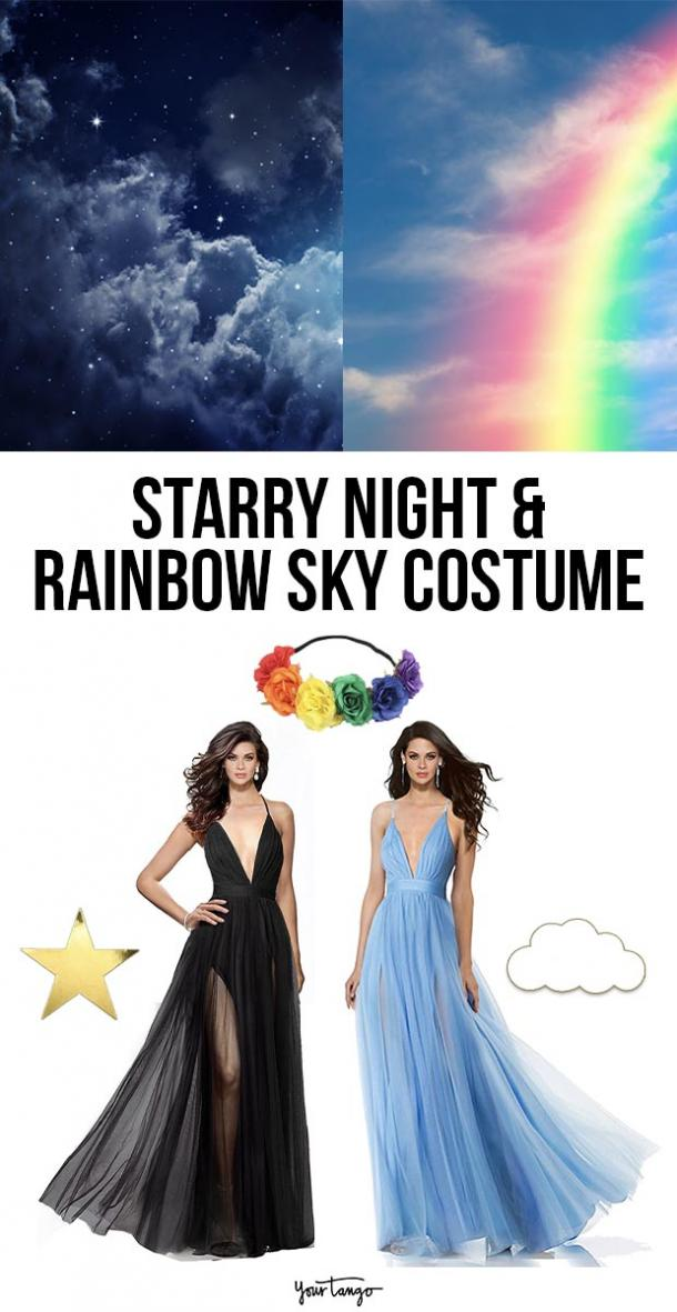 starry night and rainbow sky last minute halloween costumes