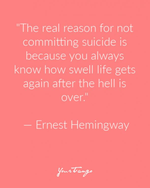 Ernest Hemingway Suicide Prevention Quote