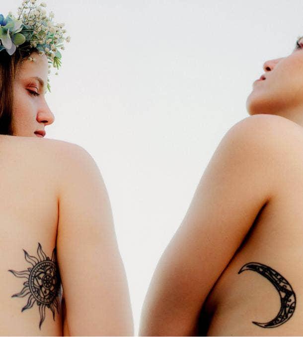 sun moon tattoo idea for women