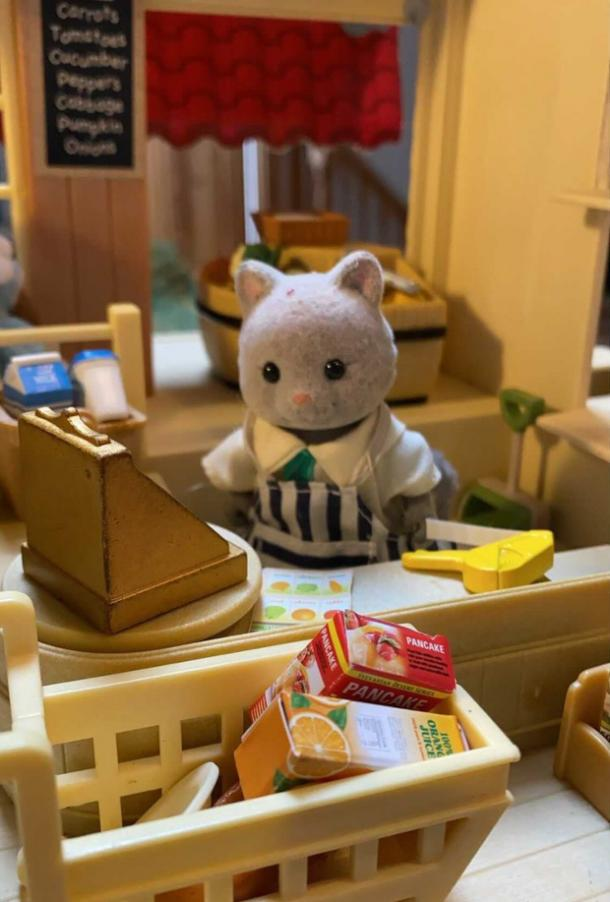 Sylvanian Drama cat working in the grocery store