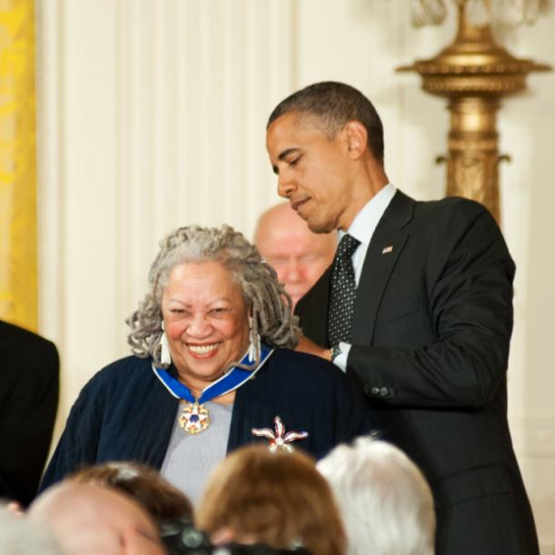 Toni Morrison receiving the Presidential Medal of Freedom from Barack Obama