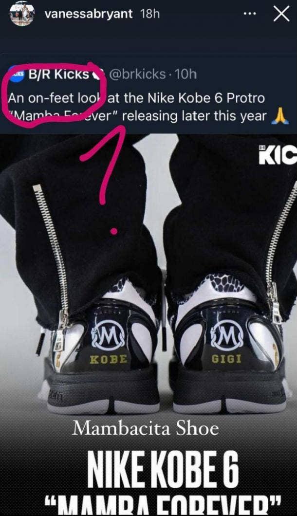 Vanessa Bryant Instagram story Nike Kobe 6 Proto