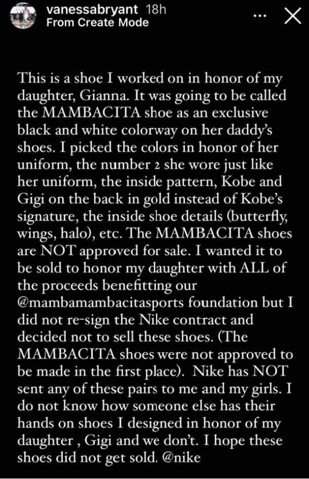 Vanessa Bryant Instagram story Nike Mambacita shoes
