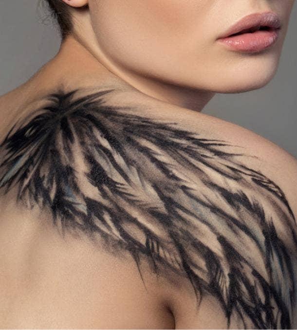 wings tattoo idea for women