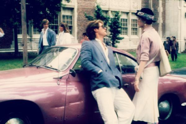 Moly Ringwald with Pretty In Pink car