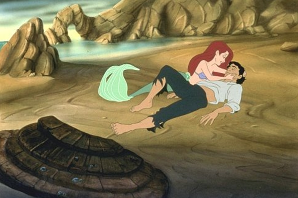 Disney princess love lessons: love at first sight Ariel washed ashore with Prince Eric in the Little Mermaid