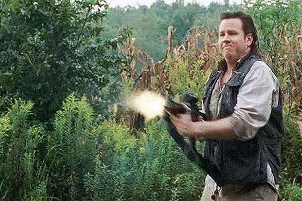 AMC The Walking Dead eugene porter josh mcdermitt mullet machine gun