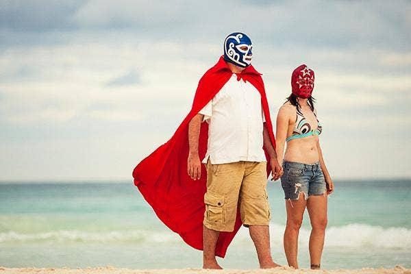 Luchador Masks On The Beach