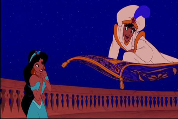 Disney princess love lessons: You can trust a dude with a magic carpet Princess Jasmine looking at Aladdin as Prince Ali on his magic carpet in Aladdin