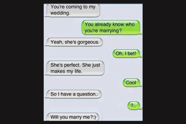 9. A silly way to propose.