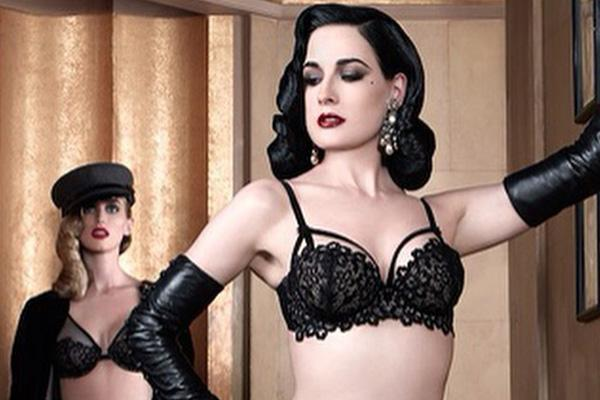 Dita Von Teese in a lingerie ad