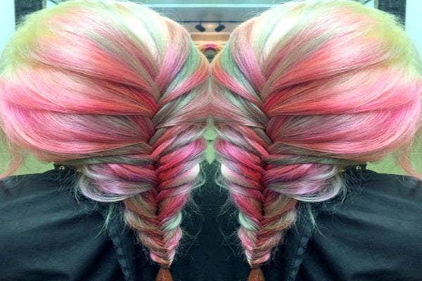 Rainbow fishtail braid.
